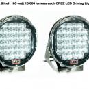 2 x 9 inch CREE 30,000 lumen 185 watt LED Focused Beam Driving Lights-338