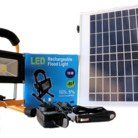 10 watt 900 lumen Portable LED Flood Light with 240v, 12v and Solar Charger-0