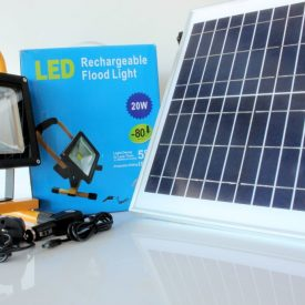 20 watt 900 lumen Portable Rechargeable LED Flood Light with 240v , 12v and Solar Charger-0