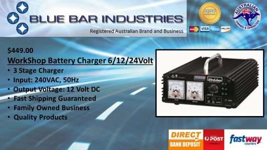 Workshop Battery Charger 3 Stage 6/12/24Volt 10Amp-0