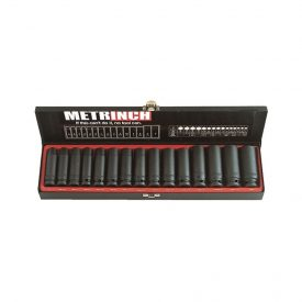 "Deep Wall Impact Socket Set 1/2"" Drive 15 Piece"