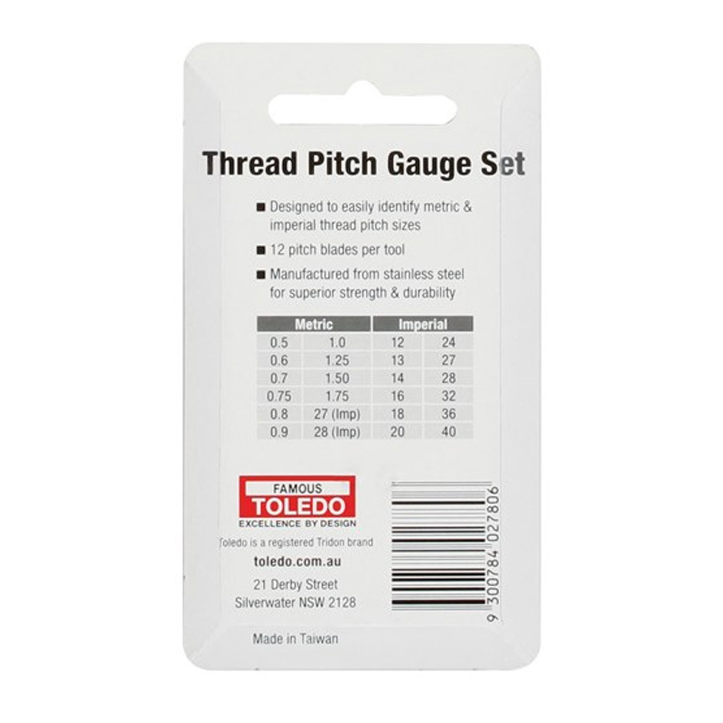Toledo Thread Pitch Set 2pc Metric and SAE 12 Pitch Sizes per Tool